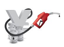 Yen symbol with a gas pump nozzle Royalty Free Stock Images