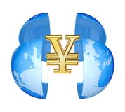 Yen symbol and globe. Stock Images