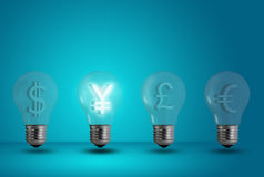 Yen symbol glow among other light bulb Royalty Free Stock Photos