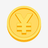 Yen symbol on gold coin Royalty Free Stock Photo