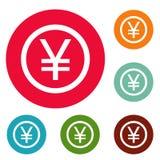 Yen symbol icons circle set vector. Isolated on white background Royalty Free Stock Photos
