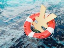 Yen Symbol Inside del ejemplo del concepto 3d de los incentivos de la economía del salvavidas Fotografía de archivo
