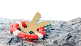 Yen Symbol Inside del ejemplo del concepto 3d de los incentivos de la economía del salvavidas Foto de archivo