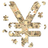 Yen symbol jigsaw Royalty Free Stock Photo