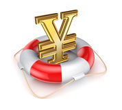 Yen symbol in a lifebuoy. Stock Images