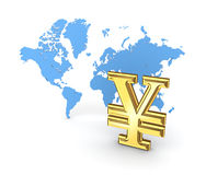 Yen symbol and map of the world. Stock Photo