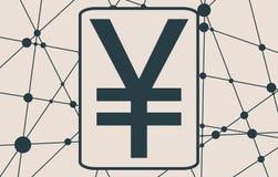 Yen Symbol on Molecule And Communication Background. Stock Photo