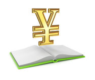 Yen symbol and opened empty book. Isolated on white background.3d rendered Stock Image
