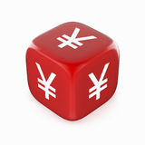 Yen Symbol on Red Dice. White yen (yuan) currency sign on red dice. 3d image vector illustration