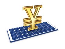 Yen symbol on solar battery. Stock Images