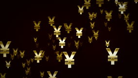 Yen Symbols Gold And Black Dolly stock video footage