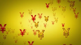 Yen Symbols Gold And Red Dolly stock video footage