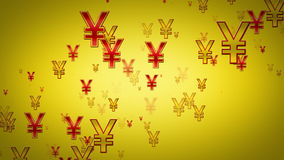 Yen Symbols Gold And Red Rising stock video