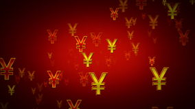 Yen Symbols Red And Gold Dolly stock footage