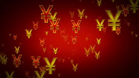Yen Symbols Red And Gold Rising stock footage