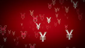 Yen Symbols Red And White Dolly stock footage
