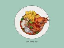Yen Ta Four, sopa de fideos rosada vector del bosquejo del drenaje de la mano Fotos de archivo libres de regalías
