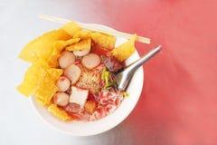 Yen taa fo egg noodle with crispy dumplings has copy space Royalty Free Stock Photo