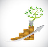 Yen tree coin business graph illustration Stock Photos