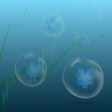 Yen und Yuan unterzeichnen herein Blase lizenzfreie stockfotos