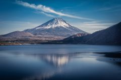 1000 Yen View of Lake Motosu royalty free stock image