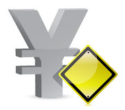 Yen warning yellow sign Stock Image