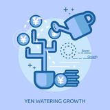 Yen Watering Growth Conceptual Design Illustration de Vecteur