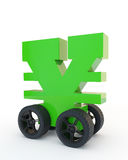 Yen on wheels. Green sign of yen on wheels Stock Photo