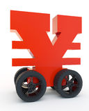 Yen on wheels. Red sign of yen on wheels Stock Image