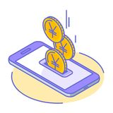 The yen and yuan coins droping into phone screen royalty free stock image