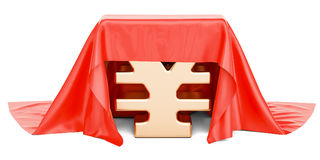 Yen or yuan covered red cloth, 3D rendering Royalty Free Stock Photos