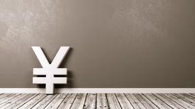 Yen or Yuan Currency Sign on Wooden Floor Against Wall. White Yen or Yuan Japanese and Chinese Currency Symbol Shape on Wooden Floor Against Grey Wall with Copy Royalty Free Stock Photo