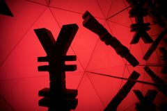 Yen or Yuan Currency Symbol With Many Mirroring Images stock photography