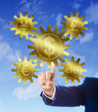 Yen or Yuan, Euro, Pound, Swiss Franc And Dollar Stock Images