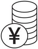 Yen-, Yuan- oder Renminbi-Währungsikone oder -logo über einem Stapel des Münzenstapels Stockbilder