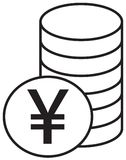 Yen, Yuan or Renminbi currency icon or logo  over a pile of coins stack. Stock Images