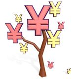 Yen and yuan sign on a tree Royalty Free Stock Images