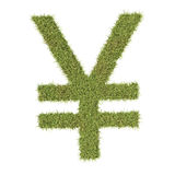 Yen or Yuan symbol made from grass Royalty Free Stock Photography