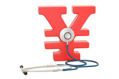 Yen or yuan symbol and stethoscope, financial aid concept. 3D re. Ndering isolated on white background Stock Image