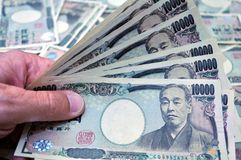 Yenes japoneses imagenes de archivo