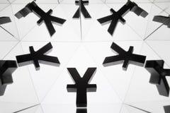 Yenes o Yuan Currency Symbol With Many que duplican imágenes imagenes de archivo