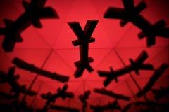 Yenes o Yuan Currency Symbol With Many que duplican imágenes fotografía de archivo