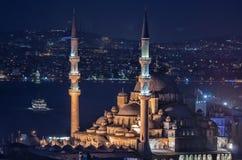 Yeni Cami Mosque in Istanbul, Turkey. Yeni Cami Mosque New Mosque at night in Istanbul, Turkey Stock Photo