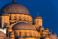 Yeni Cami. The New Mosque (Yeni Cami) lit up in late evening in Istanbul, Turkey Royalty Free Stock Image