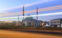 Yeni Cami ( New Mosque ) with traffic lights, Istanbul, Turkey. Royalty Free Stock Photos