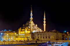 Yeni Cami by night, Istanbul, Turkey Stock Photo