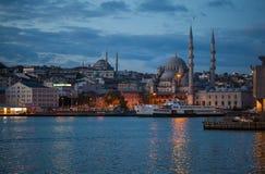 Yeni Camii mosque on the Bosphorus coast stock images