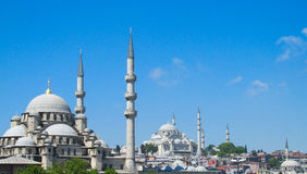 Yeni Camii mosque with high minarets in Istanbul, Turkey. Turkish mosque Yeni Camii near Galata bridge with high minarets in Istanbul, Turkey Royalty Free Stock Photos