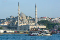 Yeni Mosque And Ferryboat In Bosphorus Royalty Free Stock Photos