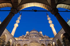 Yeni Mosque By Night, Istanbul. Below view of Yeni Mosque from the porch, Istanbul - Turkey Royalty Free Stock Photography